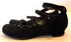 Strappy Black Suede Button Up Shoes circa Early 1900s