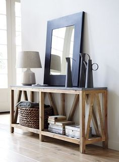 Bluestone Console Table (C) - nice two-tiered console for display and storage