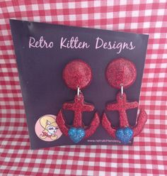 Resin anchor heart post earrings-Red glitter by RetroKittenDesigns on Etsy