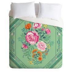 Pimlada Phuapradit Mint Roses Duvet Cover | DENY Designs Home Accessories