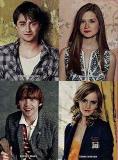 Daniel Radcliffe, Bonnie Wright, Rupert Grint, and Emma Watson