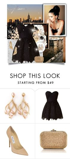 """""""Glamour edition"""" by bjelanovic-ana ❤ liked on Polyvore featuring Shaun Leane, Jimmy Choo, Judith Leiber, black, Elegant, Glamour and MyStyle"""