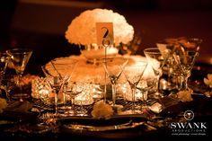 Planned, Designed & Produced by www.swankproductions.com  Table Setting Big Band themed birthday party Edison Ballroom NYC #yablesetting #bigband #birthdayparty #edisonballroom