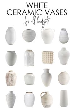 Home Interior Traditional Gorgeous white ceramic vase options for all budgets. Also includes inspiration photos for styling! Interior Traditional Gorgeous white ceramic vase options for all budgets. Also includes inspiration photos for styling! Modern Ceramics, White Ceramics, Ideas Florero, Farmhouse Design, Farmhouse Decor, Passion Deco, Cheap Dorm Decor, Gallery Wall Frames, Keramik Vase