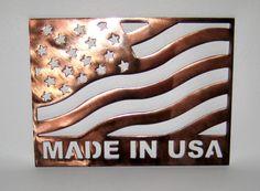 Made in USA Plaque in Copper Coated Steel Handmade Custom Metal Art Plasma Cut. $50.00, via Etsy.