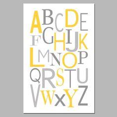 yellow & grey alphabet poster~ FREE PRINTABLE!