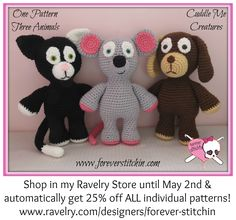 New Release! 3-in-1 Cuddle Me Creatures - House Pet Set! 25% off until May 2nd! #ForeverStitchin #crochet #handmade #love #cat #dog #mouse www.ravelry.com/designers/forever-stitchin