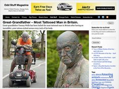 """#GreatGrandfather Tommy Wells was recently named the """"most tattooed man in #Britain"""" after having over 1,000 #tattoos inked on his body. Over the last 52 years, the 69-year-old has tattoos absolutely everywhere including the soles of his #feet, his #lips and even his… #genitals.  Read more: http://www.methodshop.com/2012/04/grandpa-1k-tattoos.shtml#ixzz37vFbJWdD"""