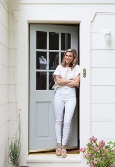 Designer ClaireZinnecker stand in front of a dutch-inspired door. Front Door Paint Colors, Exterior Paint Colors For House, Painted Front Doors, Paint Colors For Home, Paint Colours, Farrow And Ball Front Door Colours, Best Front Door Colors, Front Door Design, Best Front Doors