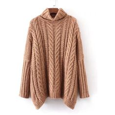 SheIn(sheinside) Cable Knit Turtleneck Oversized Sweater (€21) ❤ liked on Polyvore featuring tops, sweaters, khaki, long sleeve pullover, cable knit turtleneck sweater, brown turtleneck sweater, oversized chunky cable knit sweater and short-sleeve turtleneck sweaters