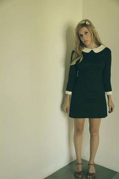 Long sleeve black and white peter pan collar vintage 60's retro shift dress