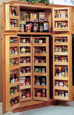 lots of shelves only one-jar deep, that closes up to be clutter and dust proof. -- make sure it is well-lit to see everything at a glance.  Kitchen Pantry Storage Ideas