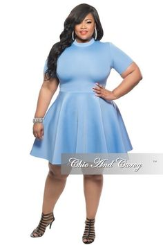 Final Sale Plus Size Skater Dress with Short Sleeves in Baby Blue 3e53555c6