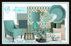 A Sea of blue… Paint colors (from top to bottom) Frosted Moss, BM Stratton Blue, EveningSea, Fabric-Waverly Ellis Turquoise, Striped Rug Crate & Barrel, Chair-Madeline Chair Urban Outfitters, Coral pillow-Burke Decor, Pearl pillow- Dwell Studio