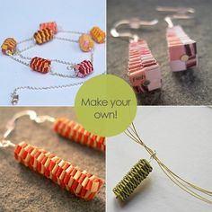 DIY woven paper beads tutorial make your own woven by papermode. €10,00 EUR, via Etsy.