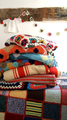 Lovely blankets | I would love to have a pile this big one day