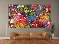 Bunt, Modern, Abstract Art, Wall Art, Red, Painting, Kitchens, Abstract Canvas Art, Neon Colors
