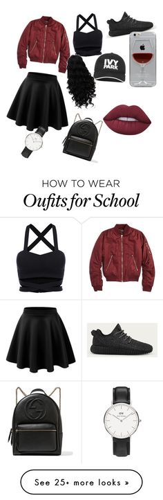"""school outfit "" by flycandymusicresources on Polyvore featuring Topshop, adidas, Ivy Park, Reyes, Daniel Wellington, Gucci and Lime Crime"