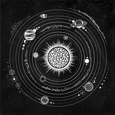 Stock Vector - Illustration of animation, circle: 159993658 Sky Tattoos, Planet Tattoos, Planet Drawing, Solar System Art, Galaxy Fabric, Compass Tattoo Design, Deep Art, Madhubani Art, Space And Astronomy