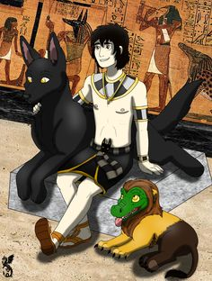 Anubis, Ammit & a jackal guard (Anubis and his pets by on DeviantArt Magnus Chase, Percy Jackson Crossover, Percy Jackson Fandom, Anubis Kane Chronicles, Kane Chronicals, Sadie Kane, Red Pyramid, Trials Of Apollo, Rick Riordan Books