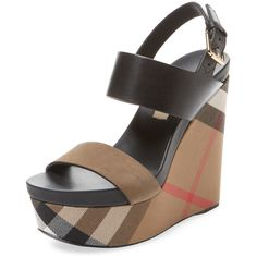 Burberry Women's House Check Leather Wedge - Size 36.5 ($459) ❤ liked on Polyvore featuring shoes, sandals, multi, ankle strap wedge sandals, leather ankle strap sandals, ankle wrap sandals, wedges shoes and leather wedge sandals