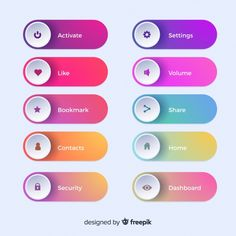 Different web buttons in gradient style Free Vector Id Card Design, App Design, Icon Design, Label Design, Website Menu, Website Icons, Comunity Manager, Ui Buttons, Dots Game