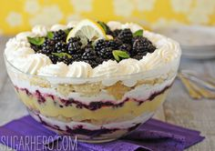 Super-moist cake, tart lemon curd, sweet blackberries, soft whipped cream, and a hint of mint gives this lemon blackberry trifle a truly show-stopping taste.