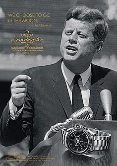 President John F. Kennedy in a vintage Omega Speedmaster ad.