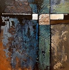 Celebration of Blue, 9035 by Carol Nelson mixed media ~ 24 x 24