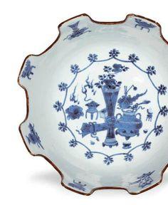 A rare blue and white monteith, Kangxi period (1662-1722)