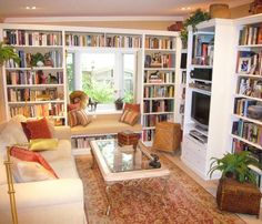 """Beryn Hammil, of  Beryn Hammil Designs, says, """"I'm a professional interior designer, and a part time carpenter, and built this myself.  The window seat faces my garden, and below the DVD player are pull out drawers to store DVD's etc."""