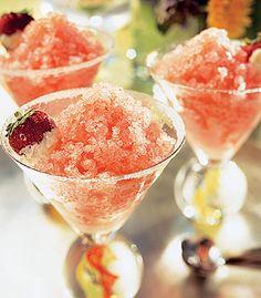 Pink Grapefruit, Strawberry, and Champagne Granita with Sugared Strawberries