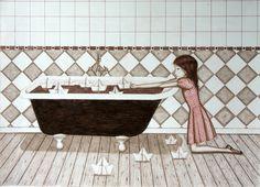 Técnica mixta, niña y bañera