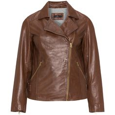 Jo and Julia Dark-Brown Plus Size Leather biker jacket ($340) ❤ liked on Polyvore featuring outerwear, jackets, plus size, leather jackets, brown leather jacket, asymmetrical zip jacket, leather biker jackets and straight jacket