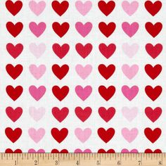 Remix Hearts Sweet from @fabricdotcom  Designed by Ann Kelle for Robert Kaufman, this cotton print is perfect for quilting, apparel and home decor accents.  Colors include red, white and shades of pink.