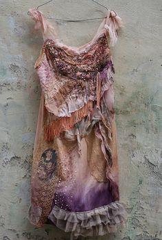 Sunset dress --dress, slip, tunic, ombre vintage slip with antique laces, bohemian romantic