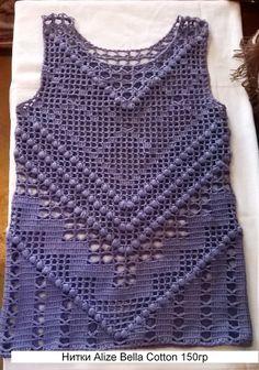 \'A short top a hook from Lauren Moffat\'. (schemes for knitting) // Martha Foss