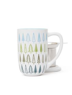 A little forest for your tabletop! Nordic mug with infuser & lid.  David's Tea