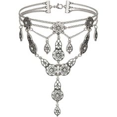 Miss Selfridge Filli Ethnic Silver Chain Choker ($23) ❤ liked on Polyvore featuring jewelry, necklaces, silver color, silver necklace, silver choker, choker necklace, silver tone jewelry and silver chain jewelry