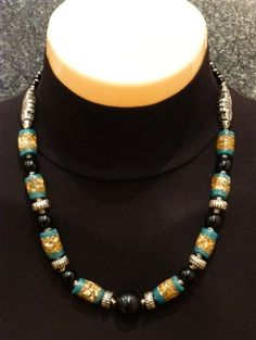Beautiful African Necklace with Earrings made using Ancient Trade Beads, Ethiopian Silver, Black Onyx.