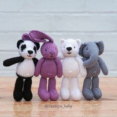 UPD sold ------- Available in my shop vastoysbaby.etsy.com (direct link in bio) Size 5 in or 12,5 sm, cotton and wool yarn, price for set (4 animals) 57$ us + worldwide ship 6$ us.  #vastoys_baby