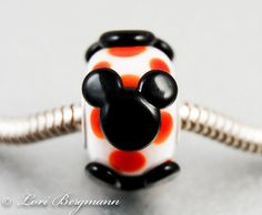 Mouse Ears European Charm Bead Handmade Lampwork by LoriBergmann,