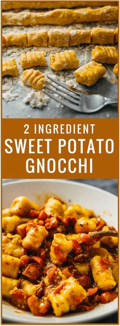 How to make this 2 ingredient sweet potato gnocchi. Sweet potatoes and flour are all you need for this vegan recipe. With just 2 ingredients, you'll make soft and pillowy homemade sweet potato gnocchi that beats any store-bought gnocchi. Pasta Recipes, Cooking Recipes, Vegetarian Recipes, Healthy Recipes, Vegan Recipes For Beginners, Gluten Free Vegan Recipes Dinner, Healthy Dishes, Vegan Gluten Free, Delicious Recipes