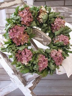 Pretty hydrangea wreath...are these silk flowers and leaves?