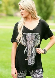 Black Elephant Tee with high-low hem. #bellaellaboutique