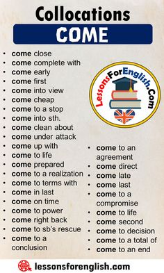 Collocations with COME in English - Lessons For English Learn English Grammar, English Writing Skills, Learn English Words, English Idioms, English Phrases, English Language Learning, English Study, English Lessons, Teaching English