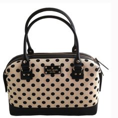 "Kate spade Belletown Justina Natural/Black dots Kate spade Bellentown Justina Natural/Black spots hand bag. Mistolino with boarskin embossed cowhide trim, custom woven capital Kate jacquard lining. Over the shoulder bag with zip closure, interior dividing pocket, double slide pockets and side zip pocket, gold printed Kate spade New York signature and 14 karat light gold plated hardware and feet. 13'L, 9""H, 5.5"" D. kate spade Bags Shoulder Bags"