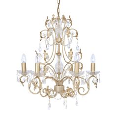 With a brushed gold finish and glass droplets, brighten up your home with the elegant Clarabelle Chandelier.