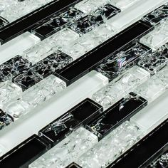 Crackled Glass Tile Linear Night Blend for kitchen backsplash, bathroom, shower, and feature walls.