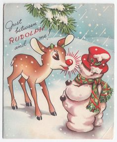 Vintage Greeting Card Christmas Rudolph The Red Nosed Reindeer RLM Snowman 1950s